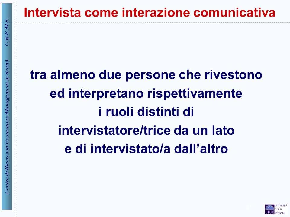Intervista come interazione comunicativa