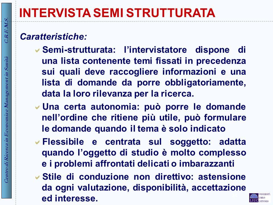 INTERVISTA SEMI STRUTTURATA
