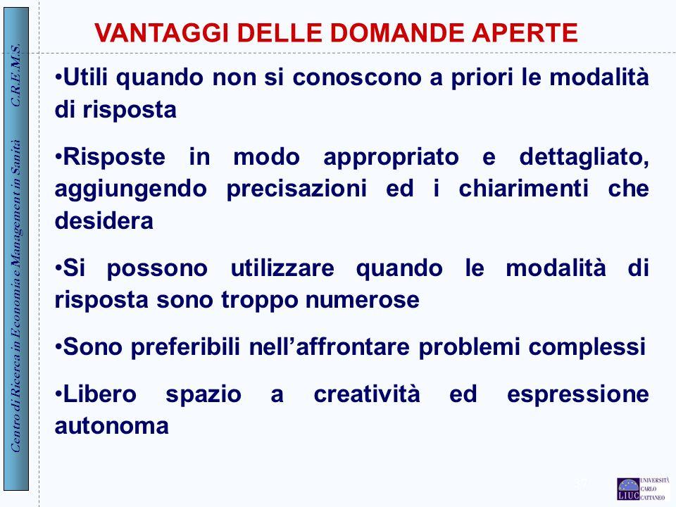 VANTAGGI DELLE DOMANDE APERTE