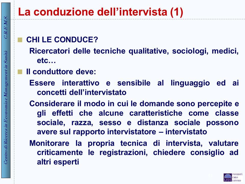 La conduzione dell'intervista (1)