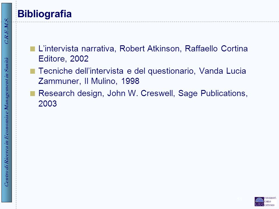 Bibliografia L'intervista narrativa, Robert Atkinson, Raffaello Cortina Editore, 2002.