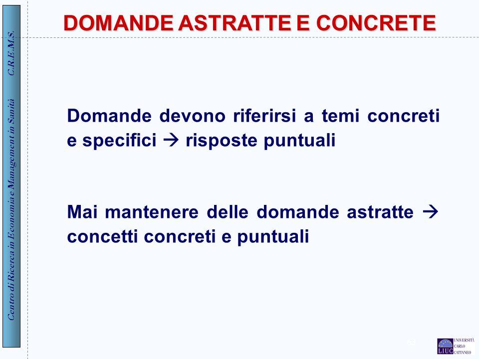 DOMANDE ASTRATTE E CONCRETE