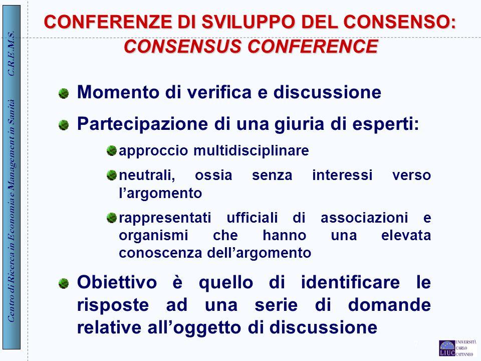 CONFERENZE DI SVILUPPO DEL CONSENSO: CONSENSUS CONFERENCE