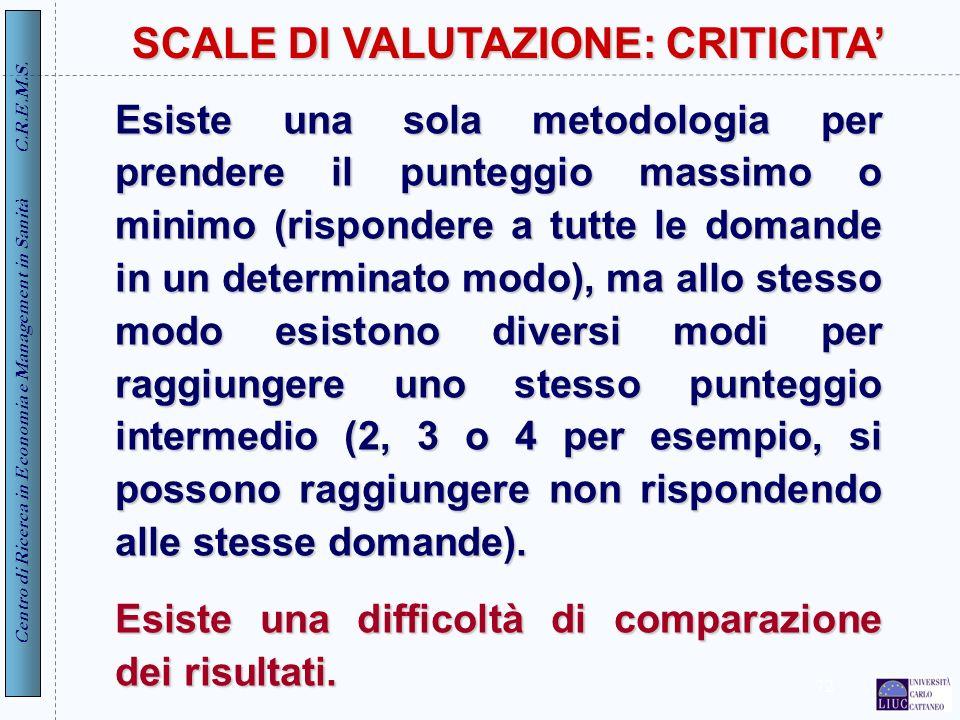 SCALE DI VALUTAZIONE: CRITICITA'