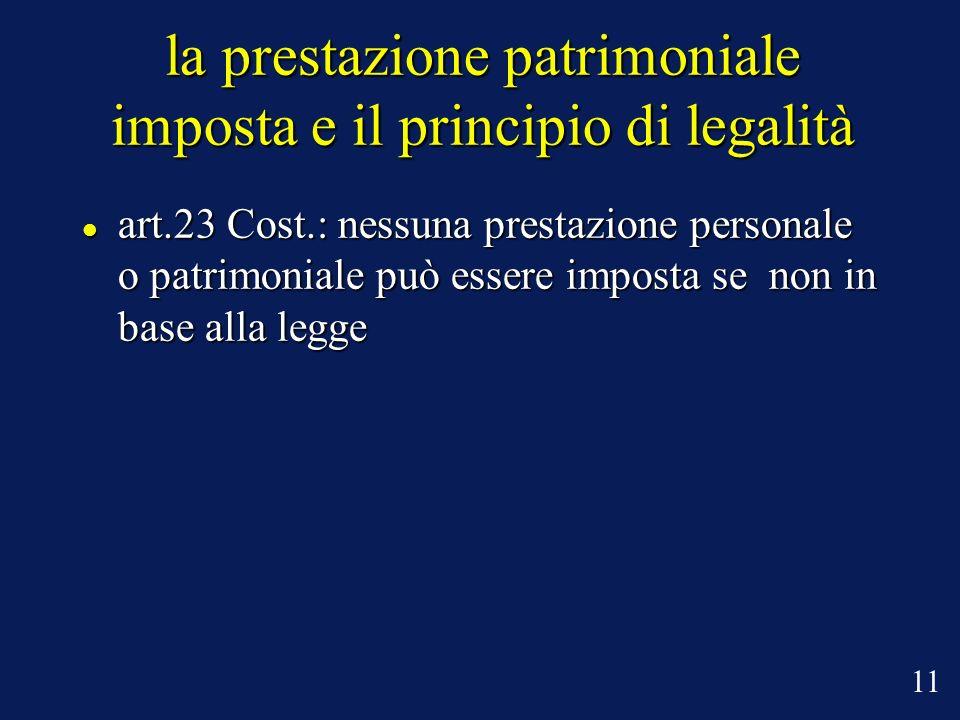 la prestazione patrimoniale imposta e il principio di legalità