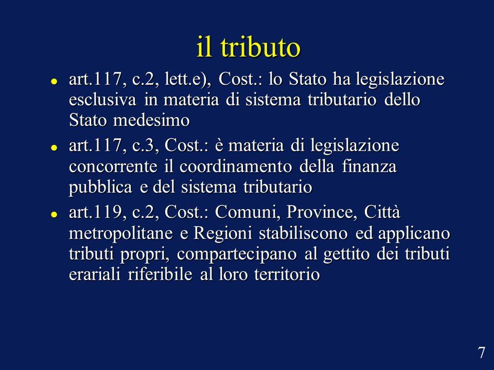 il tributo art.117, c.2, lett.e), Cost.: lo Stato ha legislazione esclusiva in materia di sistema tributario dello Stato medesimo.