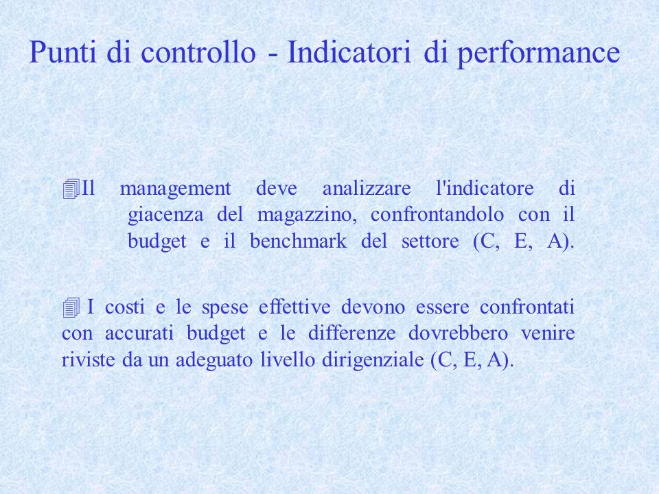 Punti di controllo - Indicatori di performance