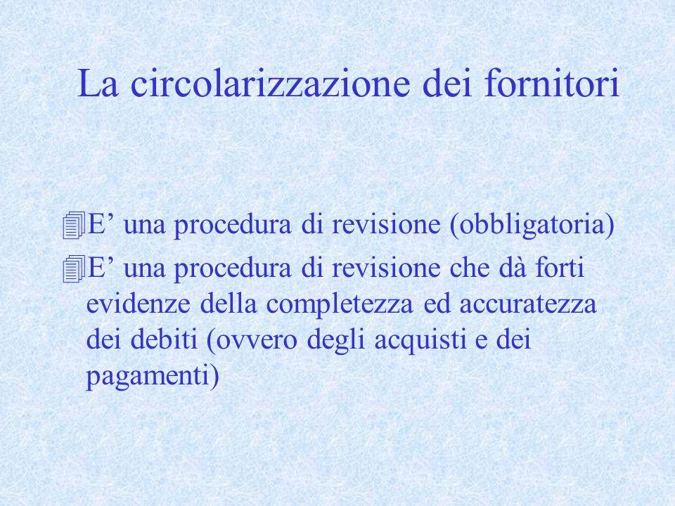 La circolarizzazione dei fornitori