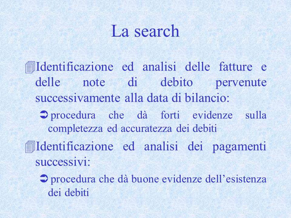 La search Identificazione ed analisi delle fatture e delle note di debito pervenute successivamente alla data di bilancio:
