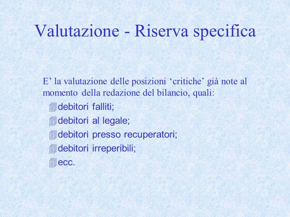Valutazione - Riserva specifica
