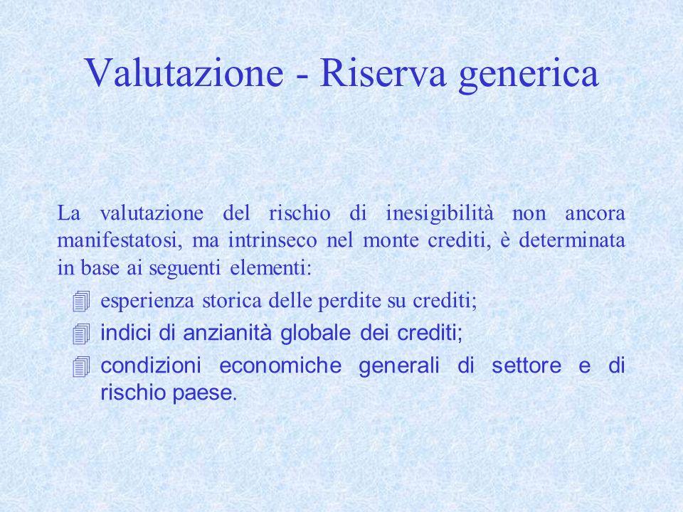 Valutazione - Riserva generica
