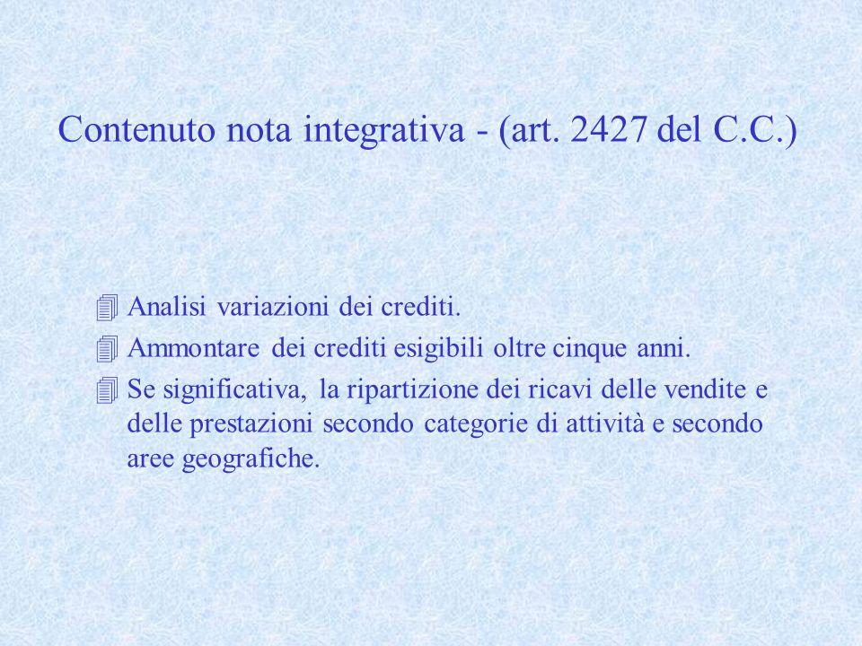Contenuto nota integrativa - (art. 2427 del C.C.)
