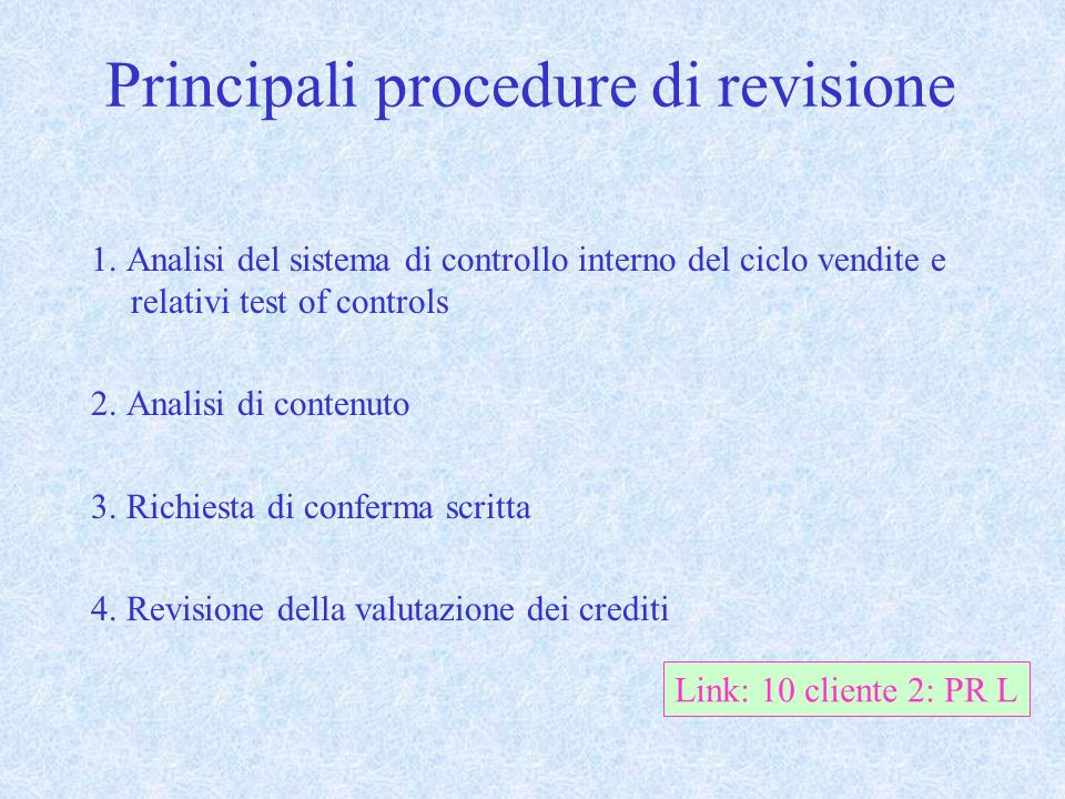 Principali procedure di revisione