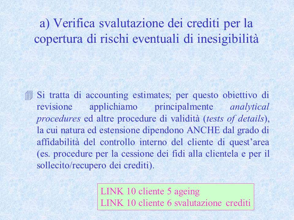 a) Verifica svalutazione dei crediti per la copertura di rischi eventuali di inesigibilità