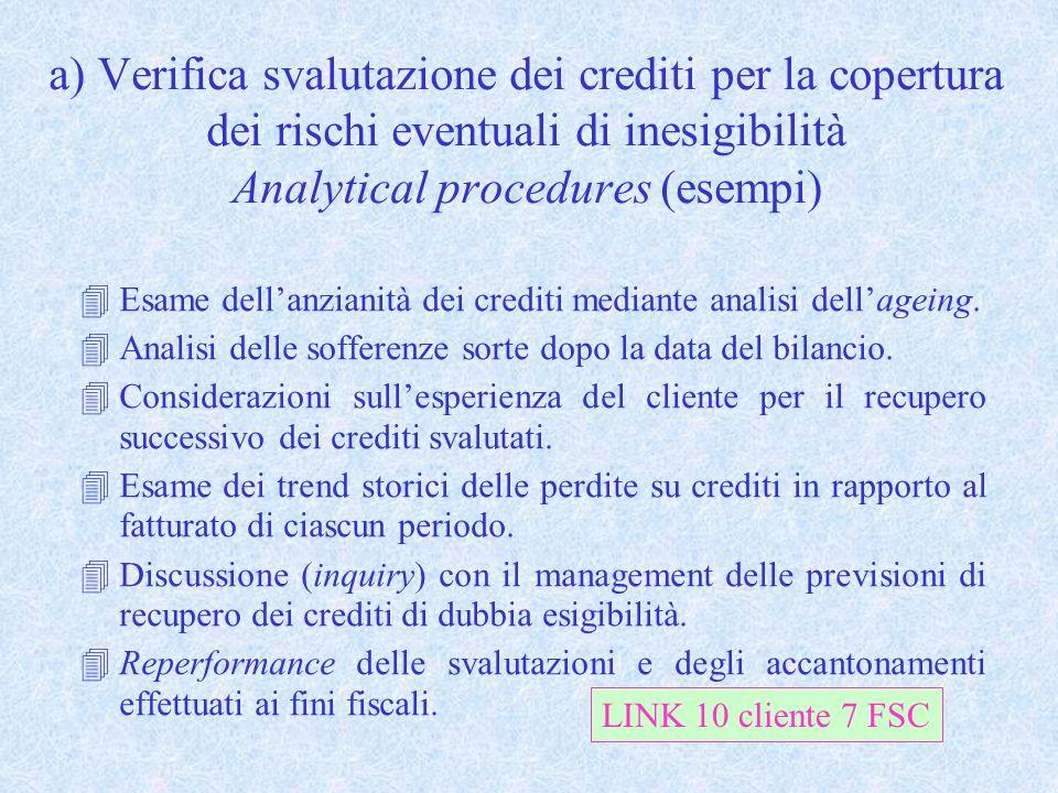 a) Verifica svalutazione dei crediti per la copertura dei rischi eventuali di inesigibilità Analytical procedures (esempi)