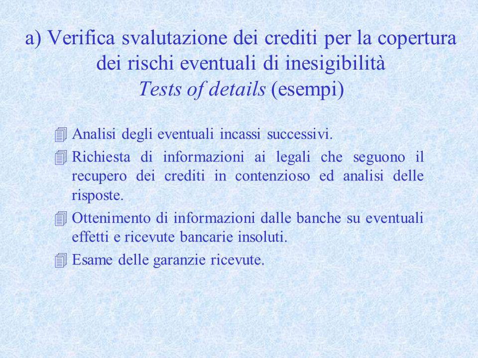 a) Verifica svalutazione dei crediti per la copertura dei rischi eventuali di inesigibilità Tests of details (esempi)