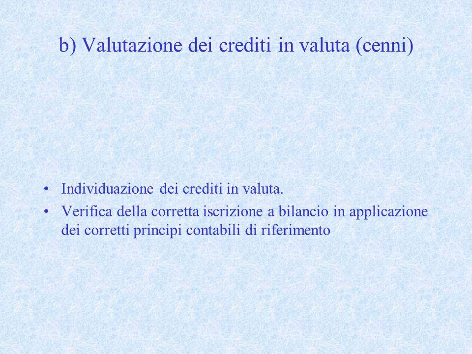 b) Valutazione dei crediti in valuta (cenni)