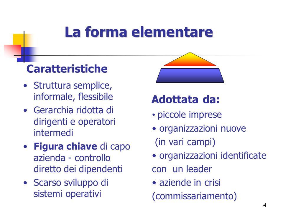 La forma elementare Caratteristiche Adottata da: