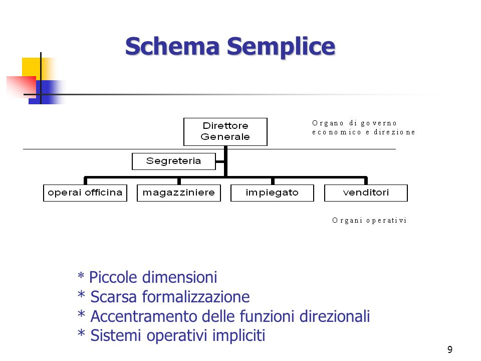 Schema Semplice * Piccole dimensioni * Scarsa formalizzazione