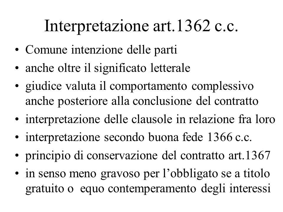Interpretazione art.1362 c.c.
