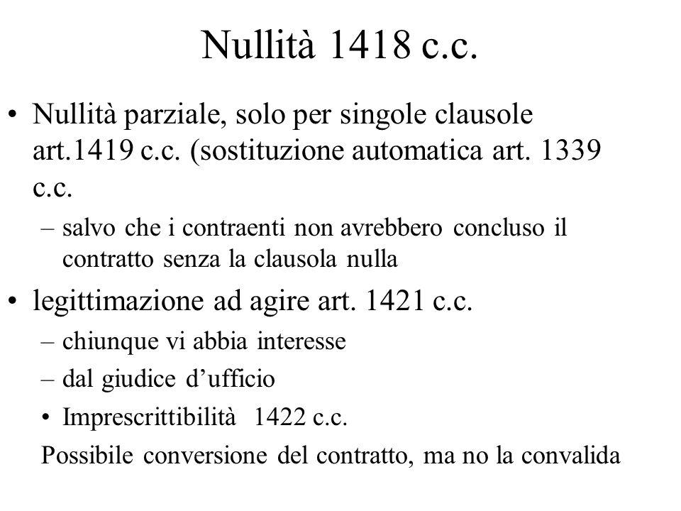 Nullità 1418 c.c. Nullità parziale, solo per singole clausole art.1419 c.c. (sostituzione automatica art. 1339 c.c.