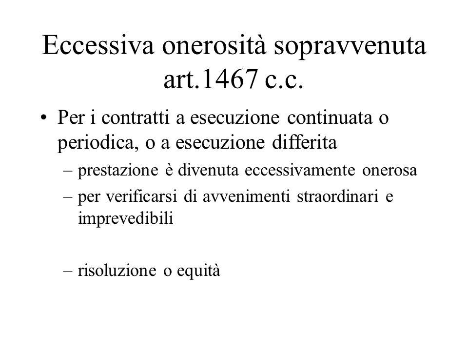 Eccessiva onerosità sopravvenuta art.1467 c.c.