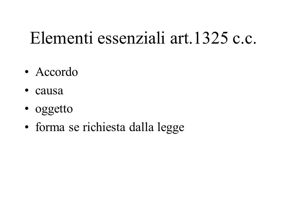 Elementi essenziali art.1325 c.c.