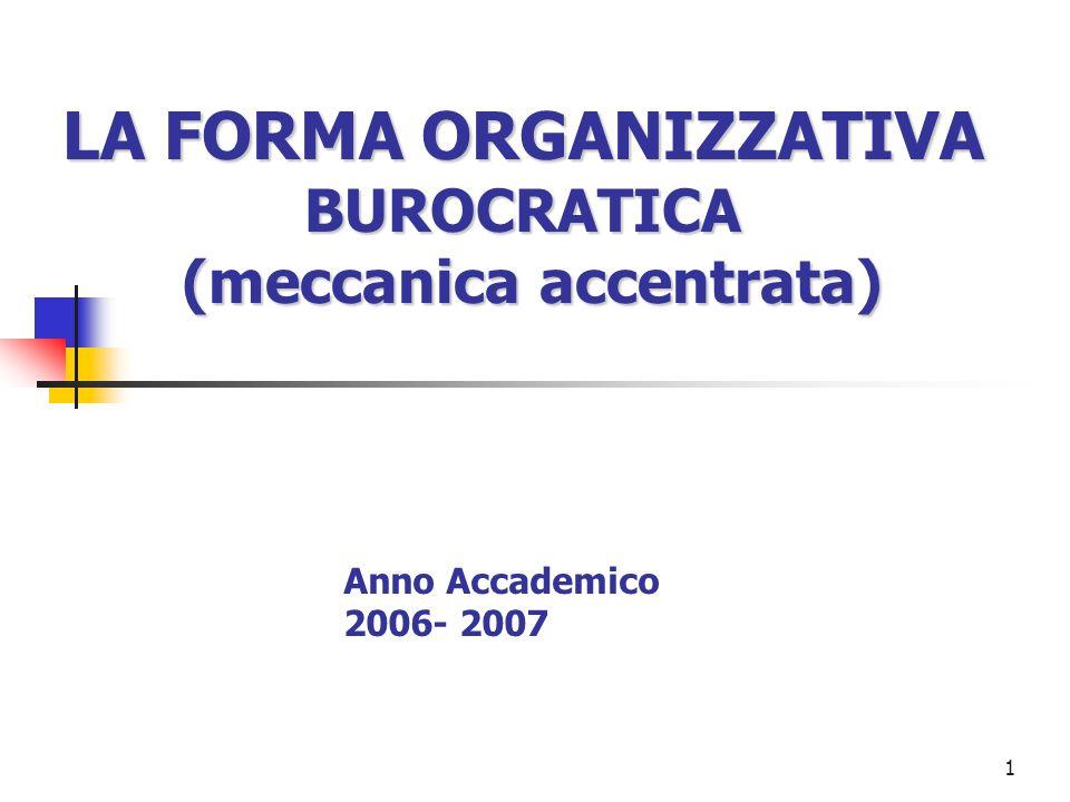 LA FORMA ORGANIZZATIVA BUROCRATICA (meccanica accentrata)