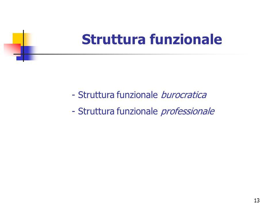 Struttura funzionale - Struttura funzionale burocratica