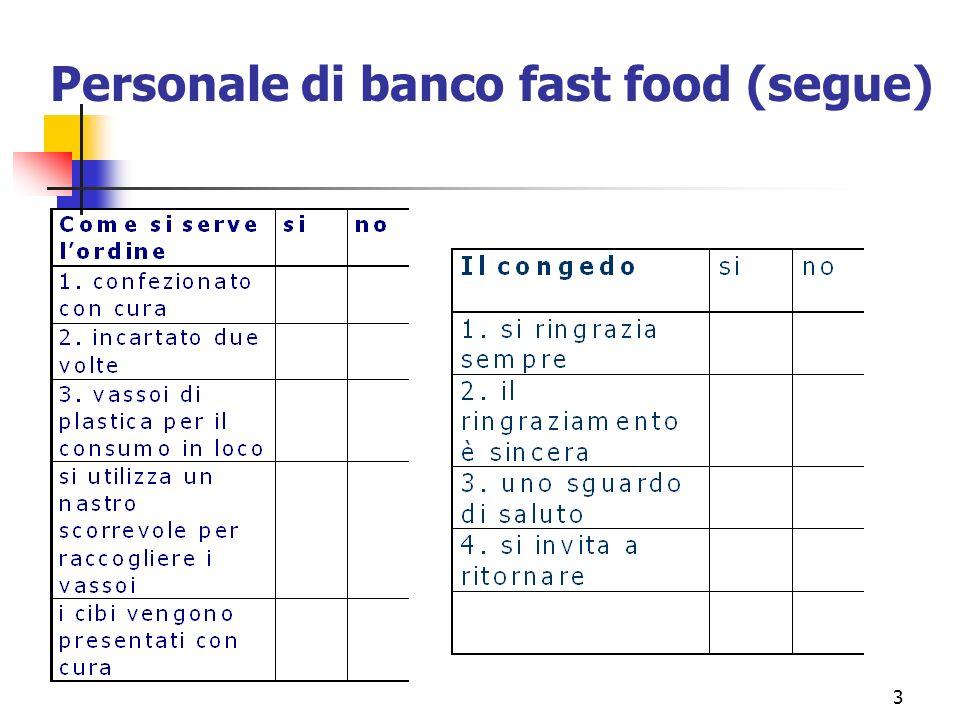 Personale di banco fast food (segue)