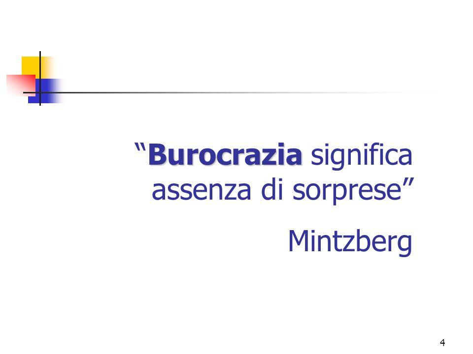 Burocrazia significa assenza di sorprese Mintzberg