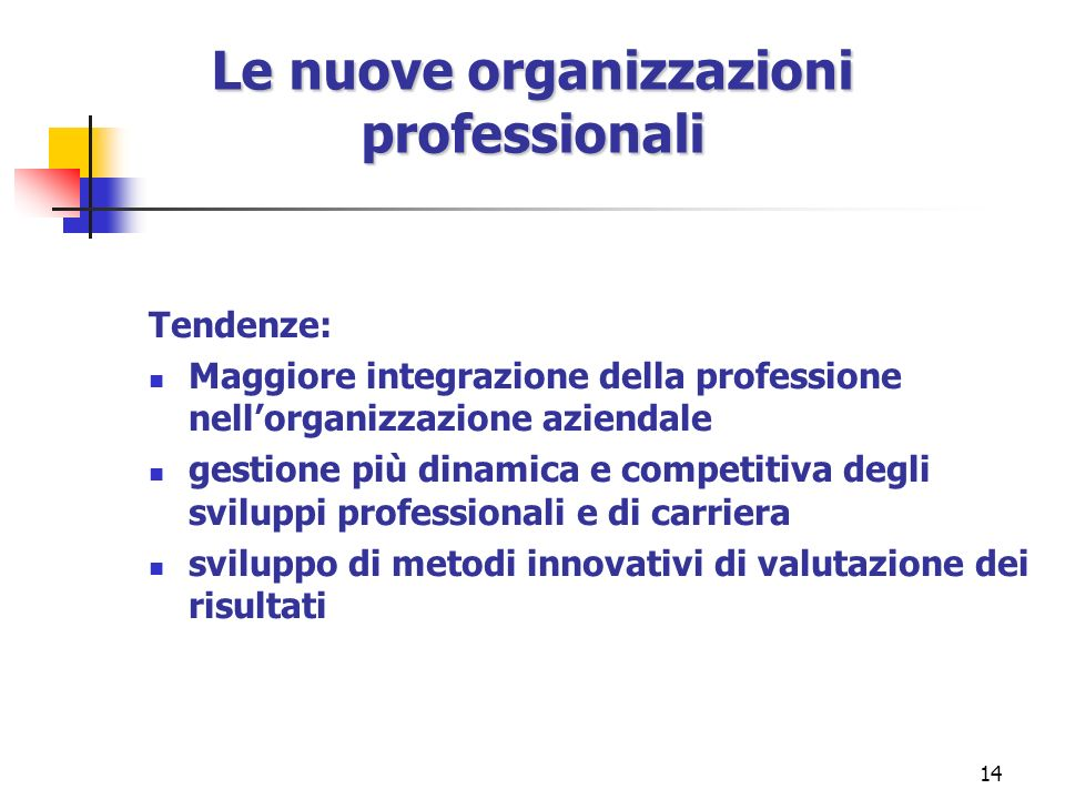 Le nuove organizzazioni professionali
