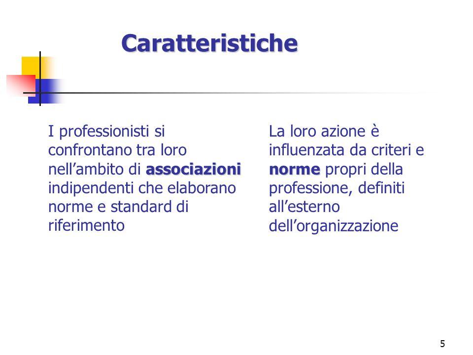 Caratteristiche I professionisti si confrontano tra loro nell'ambito di associazioni indipendenti che elaborano norme e standard di riferimento.