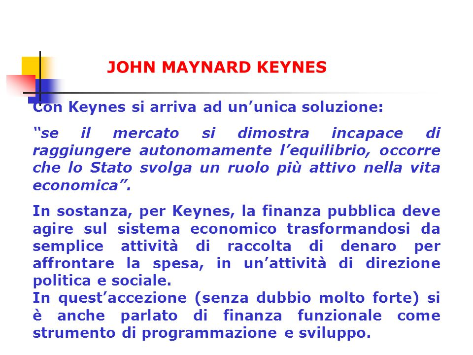 JOHN MAYNARD KEYNES Con Keynes si arriva ad un'unica soluzione: