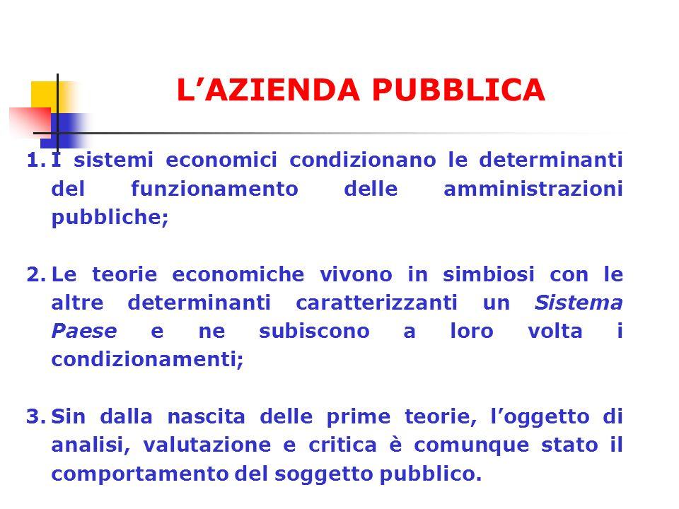 L'AZIENDA PUBBLICA I sistemi economici condizionano le determinanti del funzionamento delle amministrazioni pubbliche;