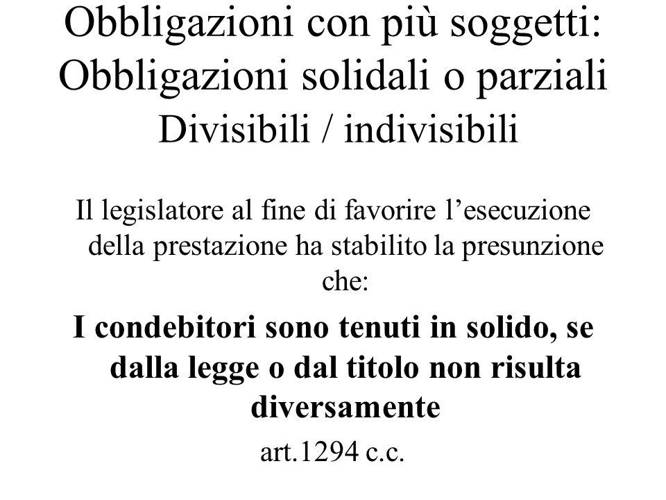 Obbligazioni con più soggetti: Obbligazioni solidali o parziali Divisibili / indivisibili