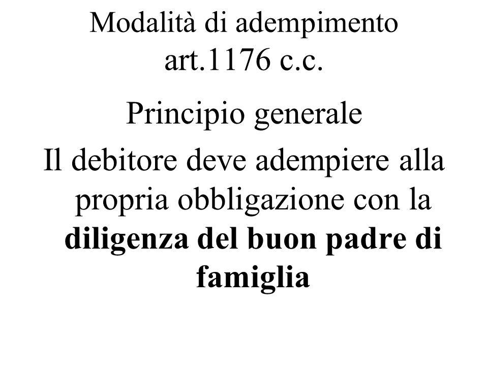 Modalità di adempimento art.1176 c.c.