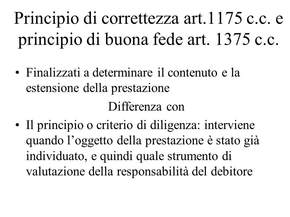 Principio di correttezza art. 1175 c. c. e principio di buona fede art