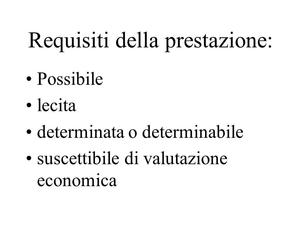 Requisiti della prestazione: