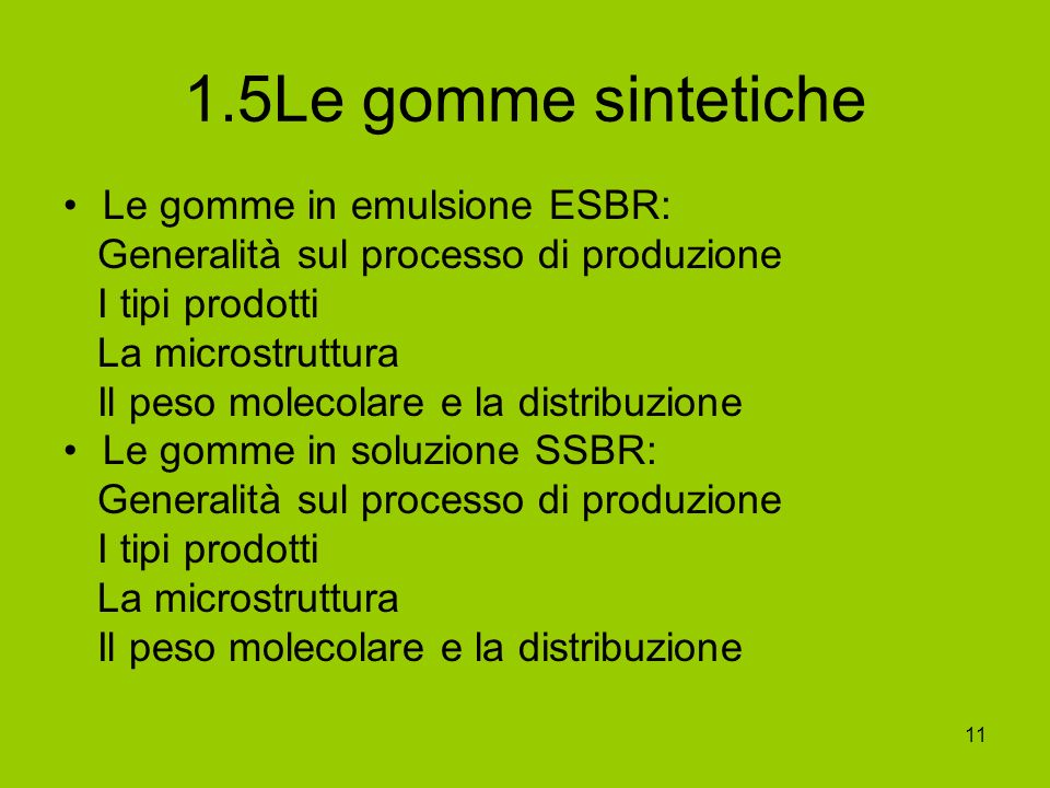 1.5Le gomme sintetiche Le gomme in emulsione ESBR: