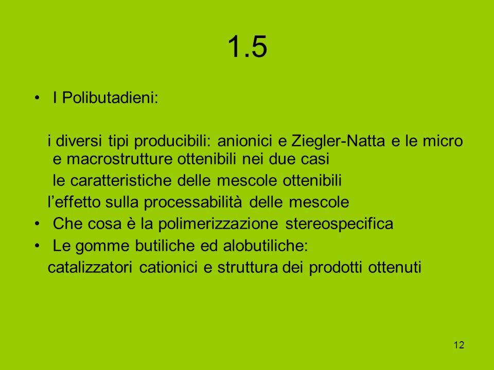 1.5 I Polibutadieni: i diversi tipi producibili: anionici e Ziegler-Natta e le micro e macrostrutture ottenibili nei due casi.