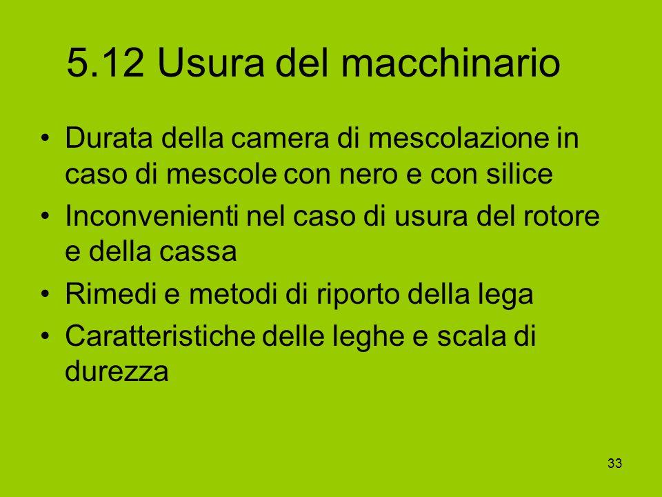 5.12 Usura del macchinario Durata della camera di mescolazione in caso di mescole con nero e con silice.
