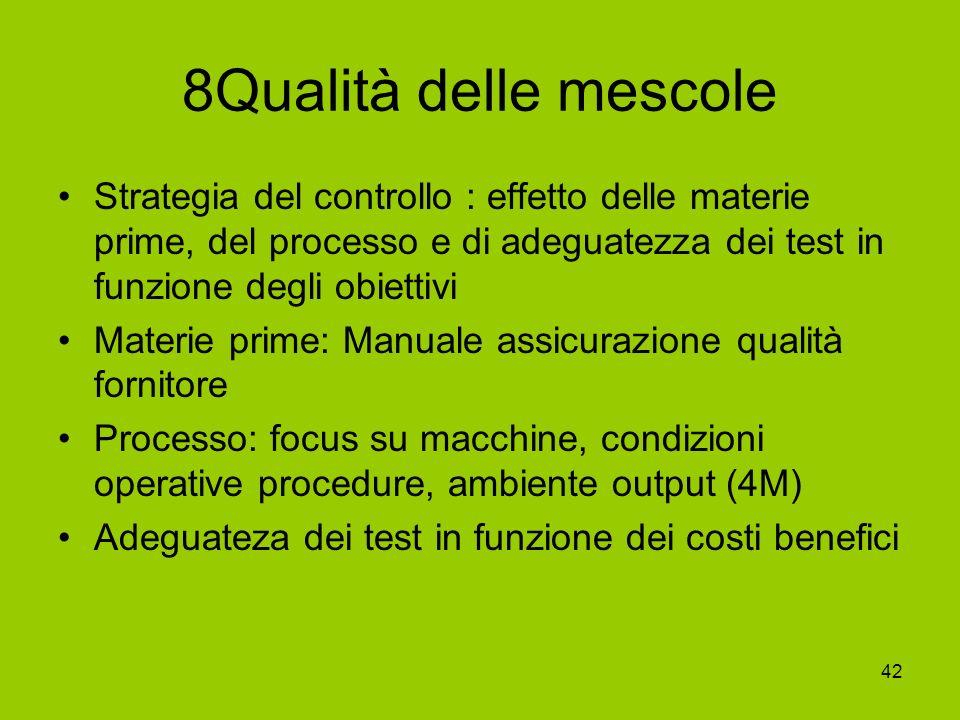 8Qualità delle mescole Strategia del controllo : effetto delle materie prime, del processo e di adeguatezza dei test in funzione degli obiettivi.