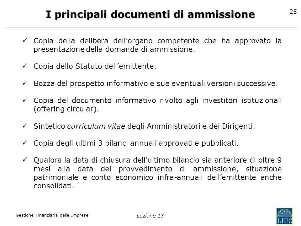 I principali documenti di ammissione
