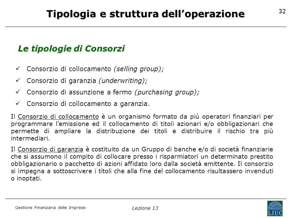 Tipologia e struttura dell'operazione