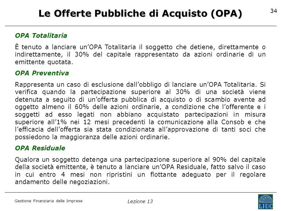 Le Offerte Pubbliche di Acquisto (OPA)