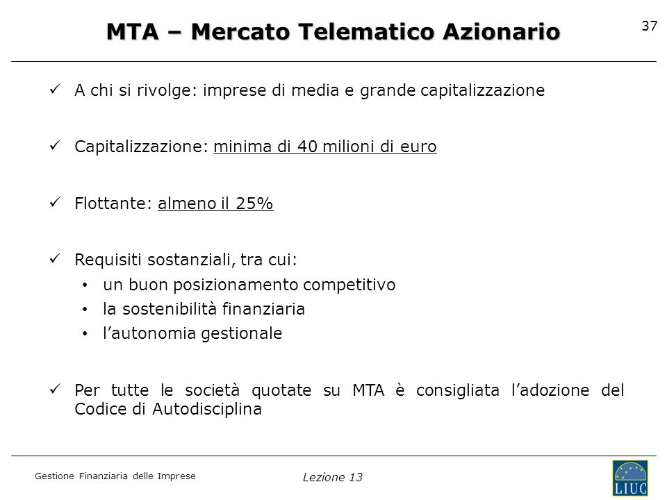 MTA – Mercato Telematico Azionario