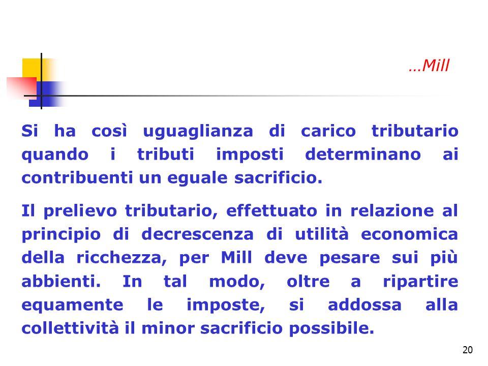 …Mill Si ha così uguaglianza di carico tributario quando i tributi imposti determinano ai contribuenti un eguale sacrificio.