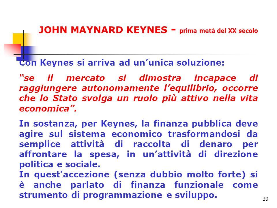 JOHN MAYNARD KEYNES - prima metà del XX secolo