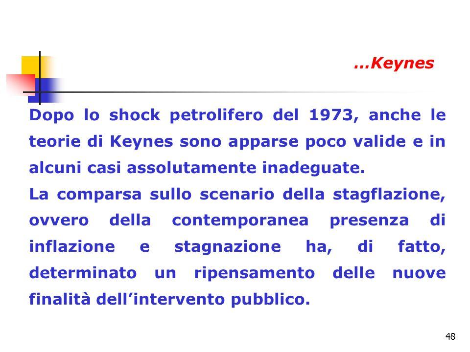 …Keynes Dopo lo shock petrolifero del 1973, anche le teorie di Keynes sono apparse poco valide e in alcuni casi assolutamente inadeguate.